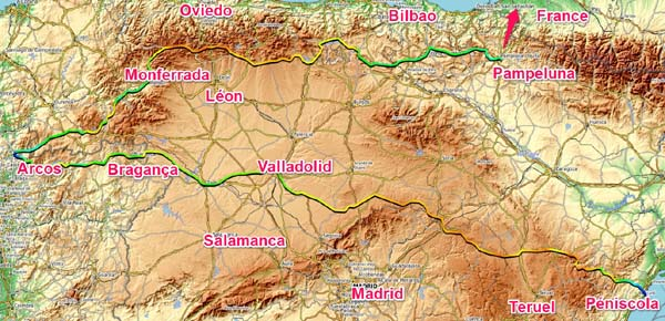 Traversée Espagne Portugal d´Est en Ouest au dessus de Madrid 2_peniscola_arcos